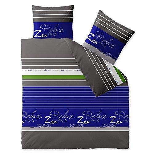 CelinaTex 0003887 Bettwäsche 200 x 200 cm Baumwoll-Renforcé OEKO-TEX Fashion Mirja Grau Blau