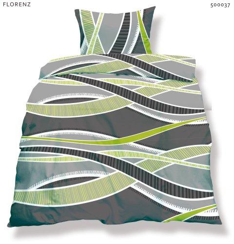 CelinaTex 0500037 Living 2-tlg Bettwäsche 135 x 200 cm Mikrofaser OEKO-TEX 2 teilig Florenz grau grün anthrazit Streifen