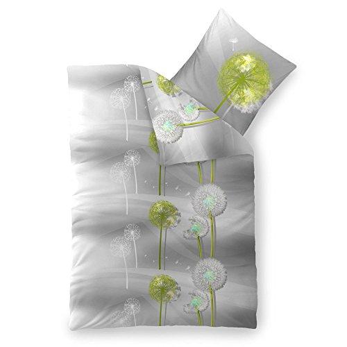 CelinaTex 5000409 Bettwäsche 155 x 220 cm Baumwoll-Renforcé OEKO-TEX Fashion Gisele Grau Weiß Blume