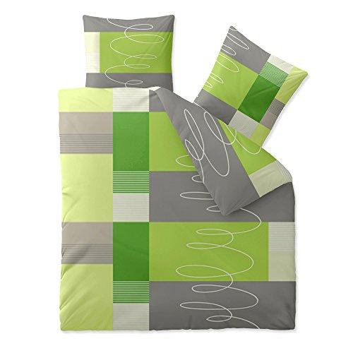 CelinaTex 5000425 Bettwäsche 200 x 200 cm Baumwoll-Renforcé OEKO-TEX Fashion Ellen Grün Grau
