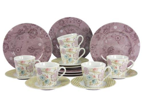 Creatable 16453 Serie Country Oriental, Kaffeeservice, 18-teilig, Porzellan, flieder, 24,5 x 22,5 x 35 cm, 18 Einheiten