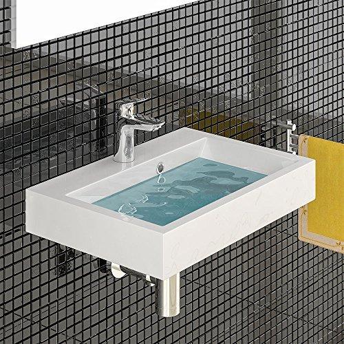 Design Hänge Waschbecken aus Gussarmor / Handwaschbecken / Waschtisch mit Überlauf