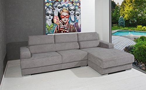 Designer ecksofa komfort polsterecke grau couch mit verstellbaren kopfst tzen m bel24 h shopping - Designer couch modelle komfort ...