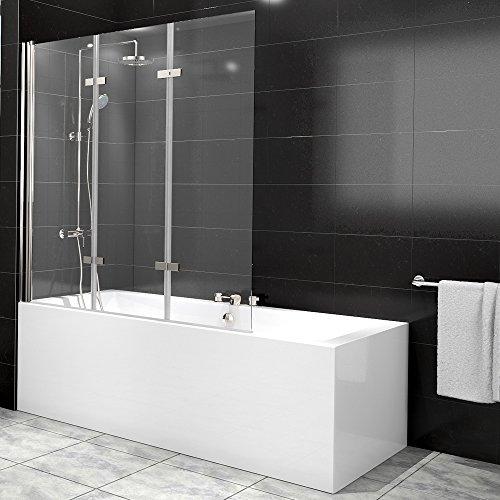 Duschabtrennung Badewanne Duschwand Badewannenfaltwand Glas Dusche 3 Flügel Nano - links