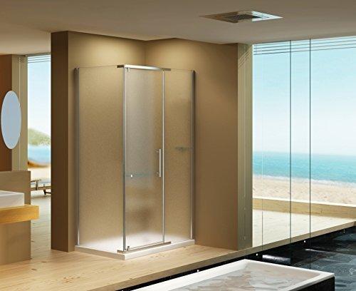 Duschkabine Dusche Clara MILCHGLAS 100 x 90 x 195cm / 8mm / ohne Duschtasse