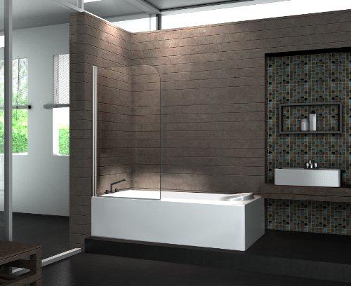 Echt Glas Duschabtrennung Duschwand Badewanne 80 x 140 cm WELLNESS