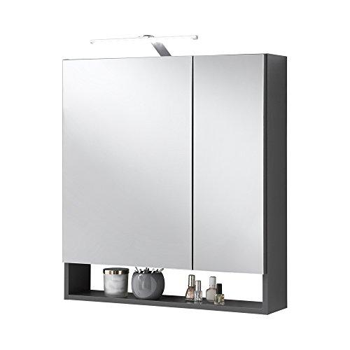 FMD Möbel 933-005 Spiegelschrank Nepal 5, 64 x 71,5 x 16,5 cm, anthrazit