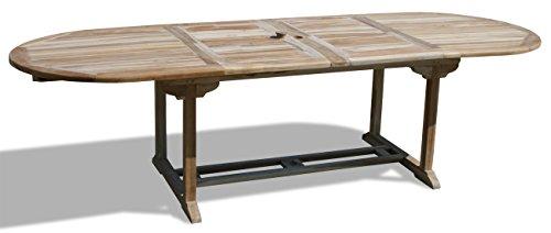 KMH®, 2-fach ausziehbarer Gartentisch (180 - 230 - 280 cm x 100 cm) - ECHT TEAK! (#102091)