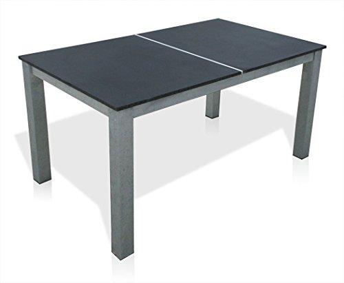 KMH®, Gartentisch mit 2 massiven Granitplatten! (mit polierter Oberseite) (150 x 90 cm) (#103051)