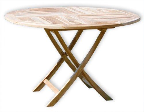 KMH®, Klapp-Tisch (Ø = 120cm) (ECHT TEAK!) (#102114)