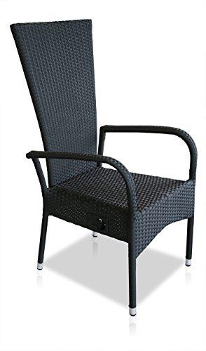 kmh polyrattan hochlehner ben schwarz stapelbar stufenlos verstellbare r ckenlehne 4. Black Bedroom Furniture Sets. Home Design Ideas