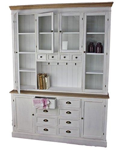 Küchenschrank aus Holz in weiß | Ideales Buffet für die Landhaus Küche | Schrank mit Glastüren als Vitrine | Highboard im Landhausmöbel Stil | Hochschrank mit Glasvitrine | Vitrinenschrank und Küchenbuffet