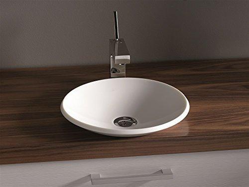 Luxus Design Aufsatzwaschbecken 345 x 345 x 72mm aus Corian (Mineralguß) in weiss, ohne Armatur (Lieferzeit 3-4 Wochen)
