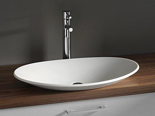 Luxus Design Aufsatzwaschbecken 704 x 420 x 117mm aus Corian (Mineralguß) in weiss, ohne Armaturen Lieferzeit ca. 3-4 Wochen