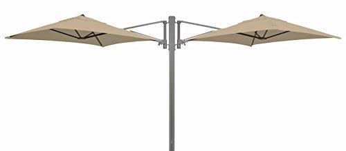 "Madison Gastronomie Gartenschirm ""Murano II"" mit zwei separat verstellbaren Schirmen in natur - ecru, UV-Schutz 40 Plus"