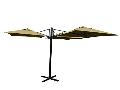 "Madison Gastronomie Gartenschirm ""Murano III"" mit drei separat verstellbaren Schirmen in natur - ecru, UV-Schutz 40 Plus"