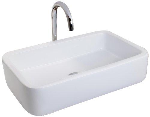 Mebasa MYBAW08 Siena Aufsatzwaschtisch Aufsatzwaschbecken Waschtisch Waschbecken, Montage stehend, weiß