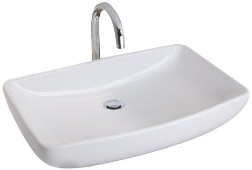 Mebasa MYBAW09 Vienza Aufsatzwaschtisch Waschtisch Waschbecken, Montage stehend, weiß