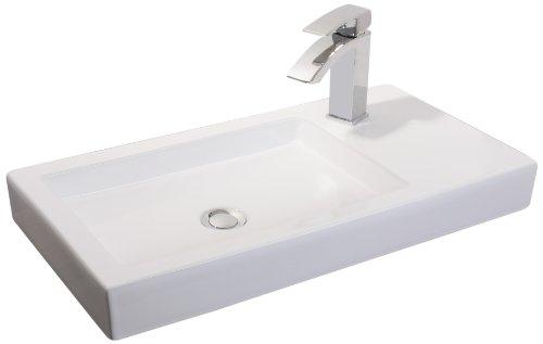 Mebasa MYBAW12 Modena Aufsatzwaschtisch (mit Hahnloch) Aufsatzwaschbecken Waschtisch Waschbecken, Montage stehend, weiß