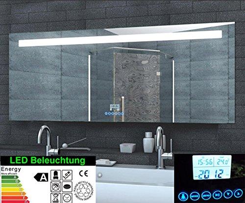 Multimedia Spiegel mit Uhr Radio MP3 TOUCH SCHALTER,mit Halterung für Smartphone 160x60cm