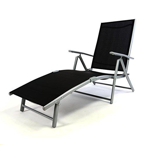 Nexos ZGC34466 Klappstühle Garten/Liegestuhl Aluminium klappbar, schwarz