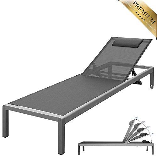 """PREMIUM XXL Aluminium-Liege """"Monaco"""" ca. 160 kg belastbar, mit Räder und Nackenrolle, bestens für den gewerblichen Einsatz geeignet, 5-fach verstellbare Rückenlehne (ganz flach), rollbar, Bezug Grau"""