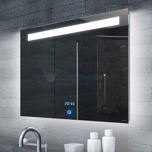 René Bugil Lichtspiegel mit LED-Beleuchtung, Uhr und Touch-Schalter - 80x65cm