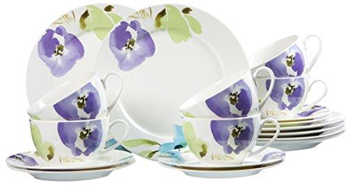 Ritzenhoff & Breker 035858 Kaffeeservice Fiorano aus Fine China Porzellan, 18-teilig