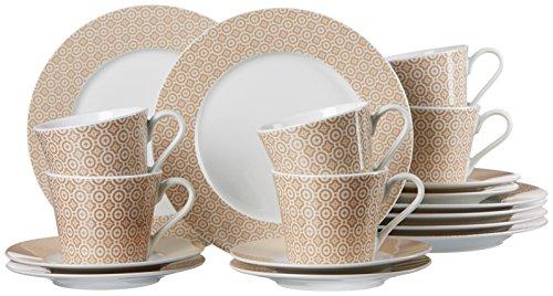 Ritzenhoff & Breker 064988 Kaffeeservice Genova, 18-teilig, Porzellangeschirr, weiß/creme