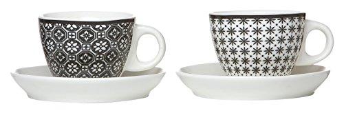 Ritzenhoff & Breker 083309 Espresso-Set Maya, 4-teilig, 80 ml, Porzellangeschirr, weiß/schwarz