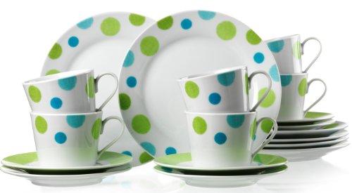 Ritzenhoff & Breker 17564 Kaffeeservice Green Spot, 18-teilig