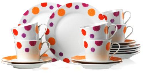 Ritzenhoff & Breker 18431 Kaffeeservice Orange Spot, 18-teilig