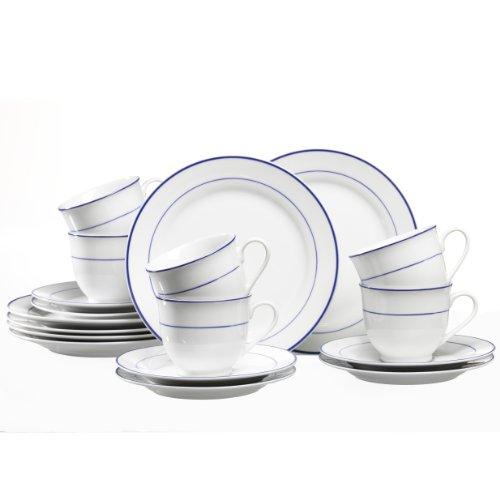 Ritzenhoff & Breker Basic Blue Snap Kaffeeservice 18-teilig, hochwertiges Porzellan, spülmaschinengeeignet, 90406