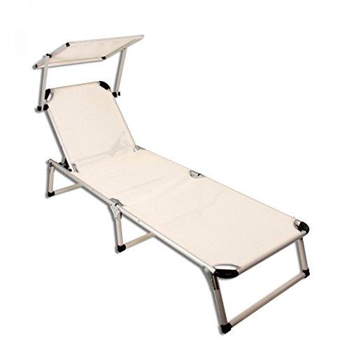 sonnenliege aluminium klappbar mit dach gartenliege strandliege beige m bel24. Black Bedroom Furniture Sets. Home Design Ideas