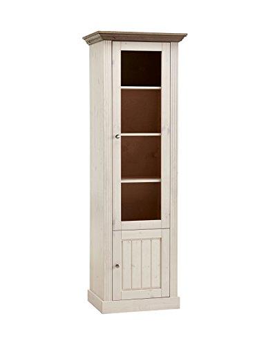 Steens 3171260269001F Vitrine Monaco, 190 x 63 x 47 cm, kiefer massiv, weiß / grau