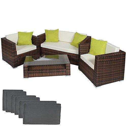 TecTake® Hochwertige Alu Luxus Lounge Set Poly-Rattan Sitzgruppe braun schwarz mit 2 Bezugsets und 4 extra Kissen mit Edelstahlschrauben