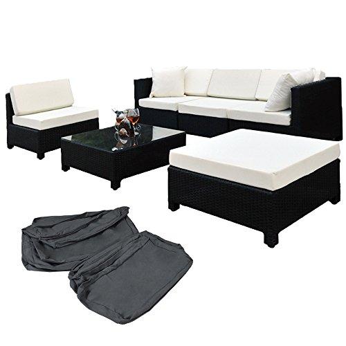 TecTake Hochwertige Aluminium Luxus Lounge mit 2 Bezugssets Poly-Rattan Sitzgruppe mit Edelstahlschrauben schwarz
