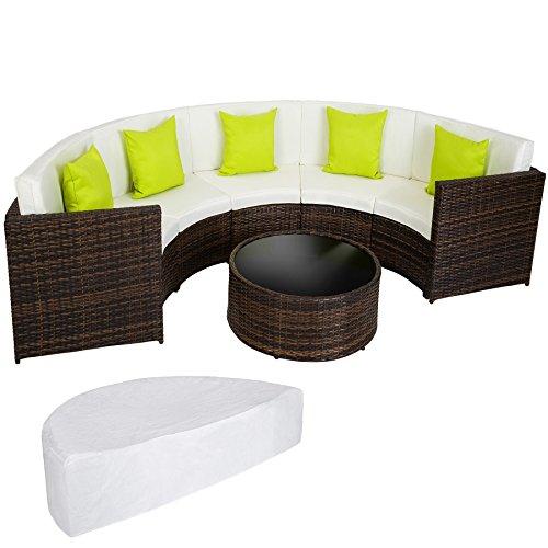 TecTake Hochwertige Aluminium Poly Rattan Lounge Sitzgruppe Sofa halbrund mixed-brown mit Tisch inkl. Schutzhülle und Kissen