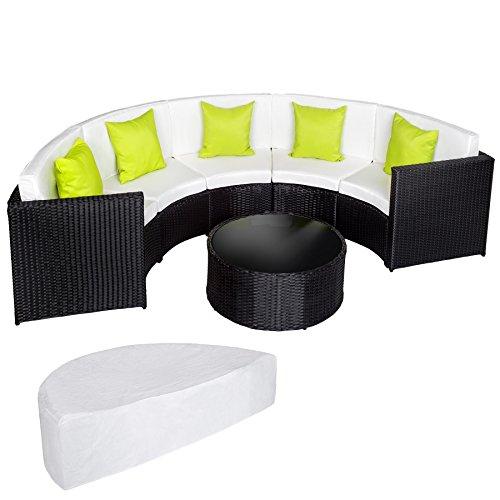 TecTake Hochwertige Aluminium Poly Rattan Lounge Sitzgruppe Sofa halbrund schwarz mit Tisch inkl. Schutzhülle und Kissen