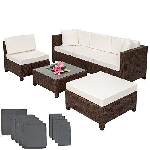 TecTake Hochwertige Aluminium Poly Rattan Luxus Lounge mit 2 Bezugssets Sitzgruppe Sofa Rattanmöbel mit Edelstahlschrauben braun