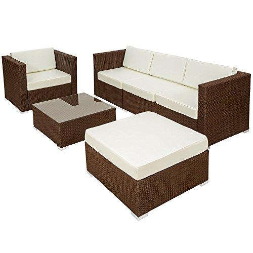 TecTake Hochwertige Luxus Lounge Poly-Rattan Aluminium Sitzgruppe Sofa Rattanmöbel Gartenmöbel braun