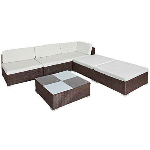 TecTake Hochwertige Luxus Lounge Set Poly Rattan Gartenmöbel Sitzgruppe Aluminium braun