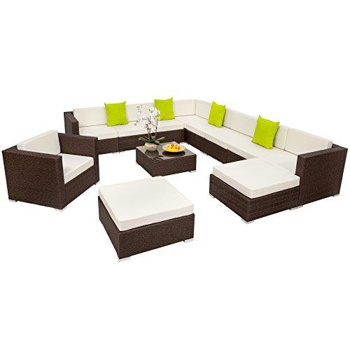 TecTake Hochwertige XXL Aluminium Poly-Rattan Lounge Sitzgruppe Set inkl. Kissen und Klemmen antik braun