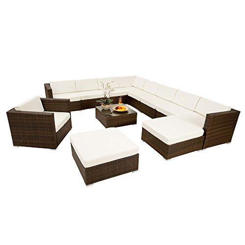 TecTake Hochwertige XXL Aluminium Poly-Rattan Lounge Sitzgruppe Set inkl. Klemmen braun schwarz