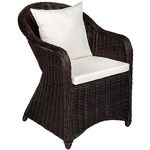 TecTake Luxus Alu Gartenstuhl Polyrattan Korbsessel inkl. Sitzkissen und Rückenkissen