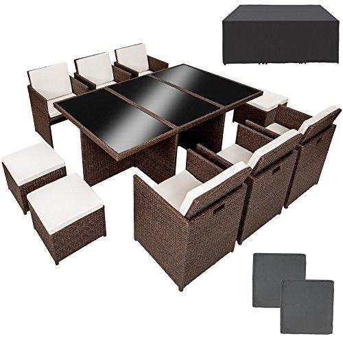 TecTake Poly Rattan Aluminium Gartengarnitur Sitzgruppe 6+1+4 antik braun, 6 Stühle, 1 Tisch, 4 Hocker inkl. 2 Bezugsets + Schutzhülle, Edelstahlschrauben
