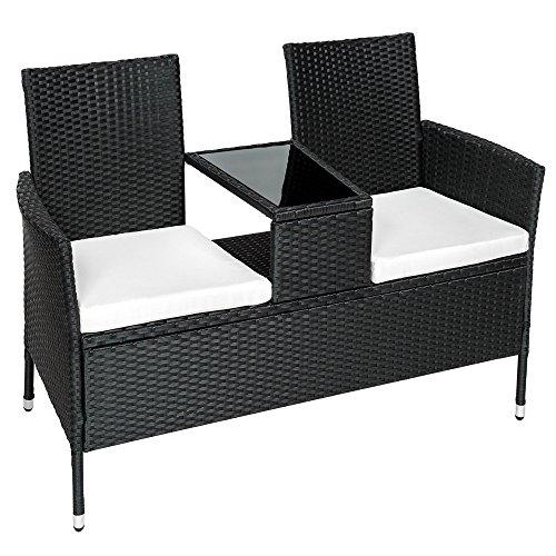 tectake sitzbank mit tisch poly rattan gartenbank gartensofa inkl sitzkissen schwarz m bel24. Black Bedroom Furniture Sets. Home Design Ideas