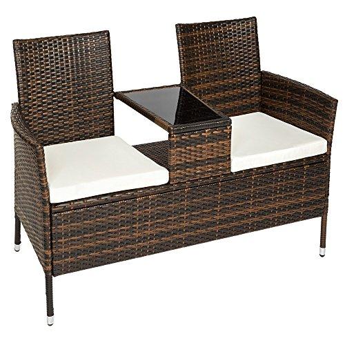 TecTake Sitzbank mit Tisch Poly Rattan Gartenbank Gartensofa inkl. Sitzkissen schwarz braun