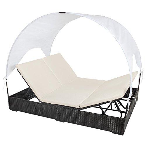 TecTake® Sonnenliege Poly Rattan Gartenliege Loungeliege Gartenlounge Doppelliege Sonneninsel mit Dach 2 Personen