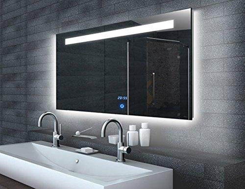 Touch 140 Badspiegel LED Beleuchtung 140x65cm Aluminiumrahmen Uhr, Touchschalter